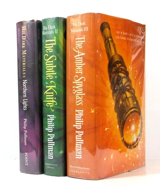 His Dark Materials; 1. Northern Lights [Golden Compass] 2. The Subtle Knife 3. The Amber Spyglass. Philip PULLMAN, born 1946.