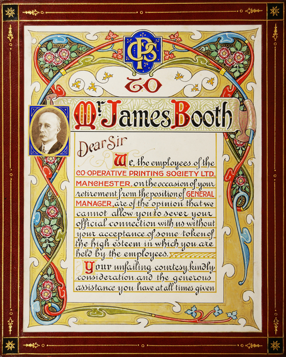 [On the Occasion of James Booth's Retirement from the Position of General Manager at the Co-operative Printing Society]. VARIOUS.