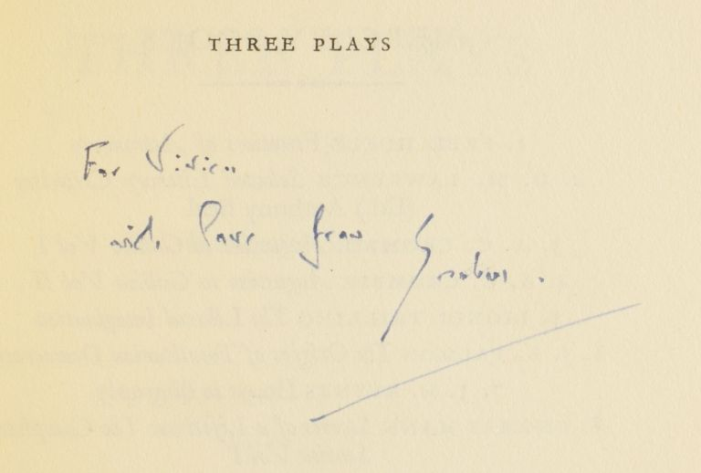 Three Plays. The Living Room, The Potting Shed, and The Complaisant Lover. Graham GREENE.