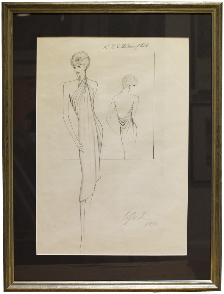 Original Concept drawing for an outfit designed by Yuki for HRH The Princess of Wales. PRINCESS OF WALES DIANA, YUKI, born Gnyuki Torimaru.