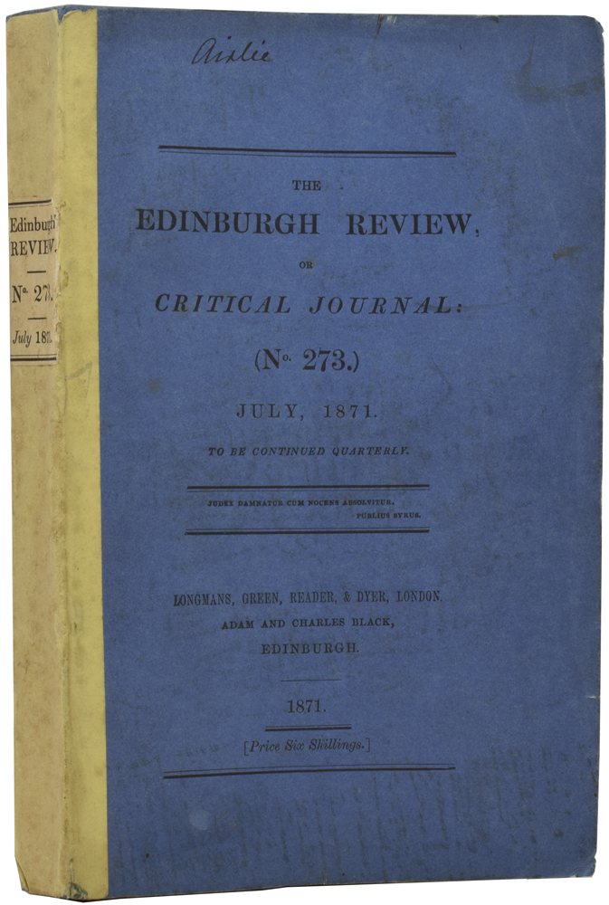[Review of The Descent of Man and Selection in Relation to Sex in] The Edinburgh Review, or Critical Journal: (No 273), July, 1871. Charles DARWIN.