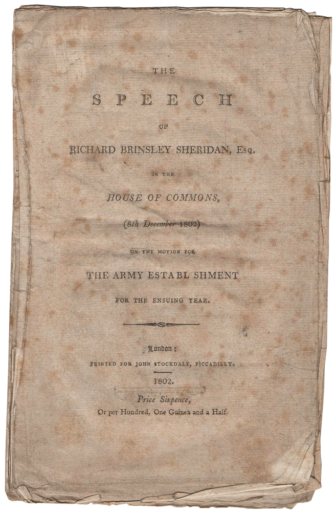 The Speech of Richard Brinsley Sheridan, Esq., in the House of Commons, (8th December 1802) on the Motion for the Army Establishment for the Ensuing Year. Richard Brinsley Butler SHERIDAN.