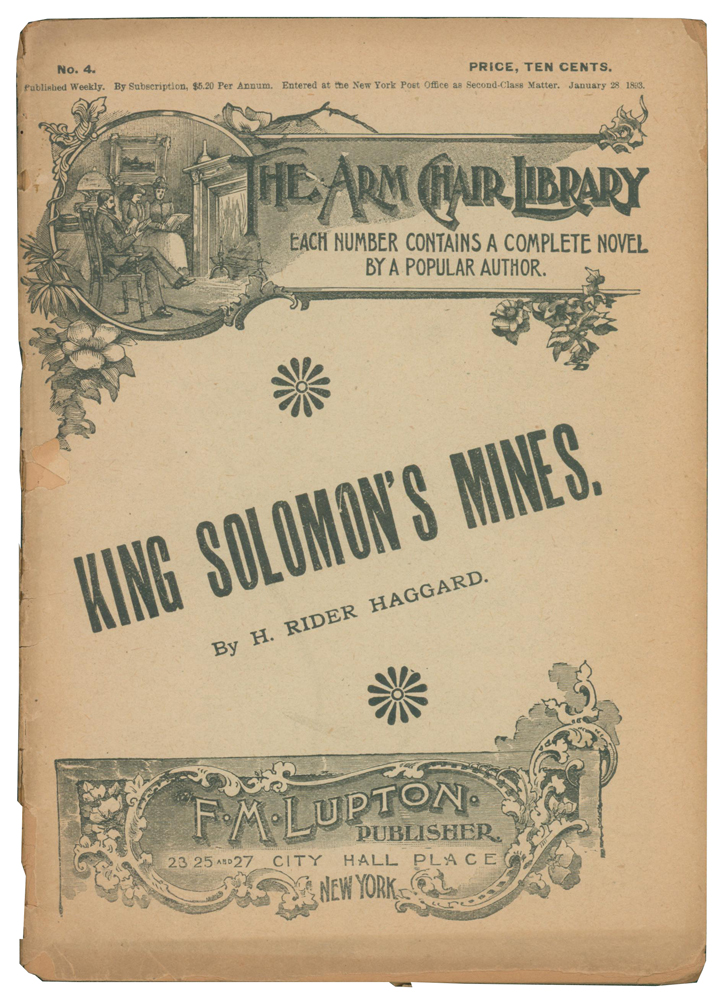King Solomon's Mines. The Arm Chair Library No. 4. Henry Rider HAGGARD, Sir.