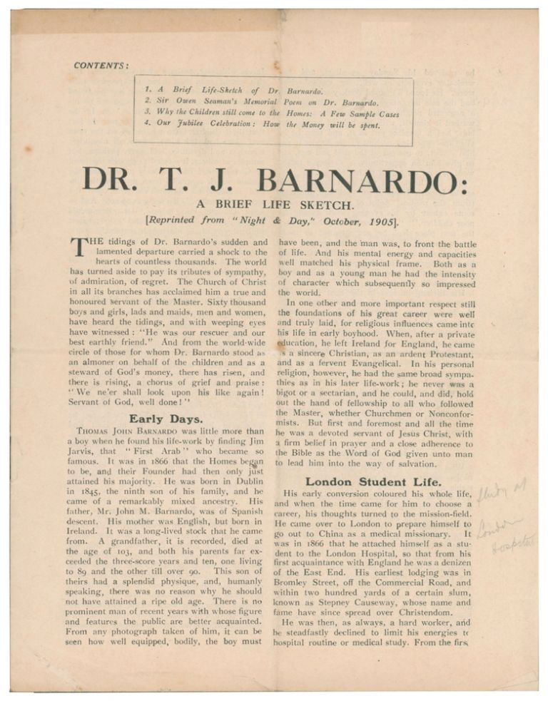 """DR. T.J. Barnardo: A Brief Life and Sketch. Reprinted from """"Night & Day,"""" October, 1905. ANONYMOUS."""