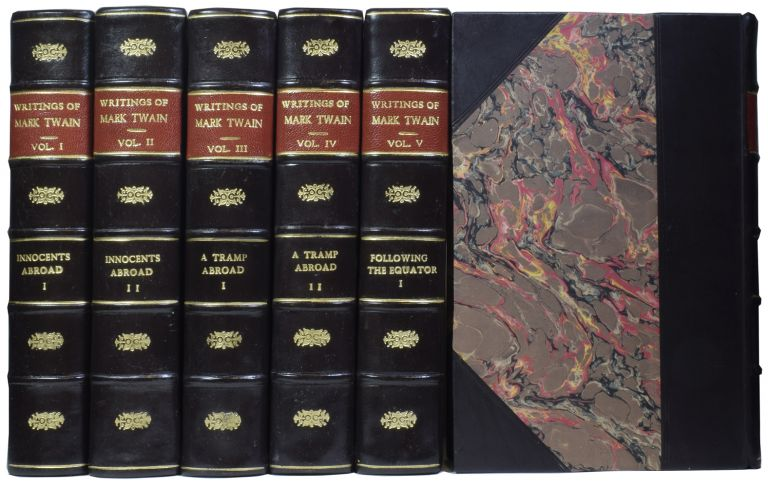 The Writings of Mark Twain. The works include: Tom Sawyer, Huckleberry Finn, The Celebrated Jumping Frog, Pudd'nhead Wilson, The Prince and the Pauper, A Connecticut Yankee in King Arthur's Court, The American Claimant, etc. Mark TWAIN, pseud. Samuel Langhorne CLEMENS.