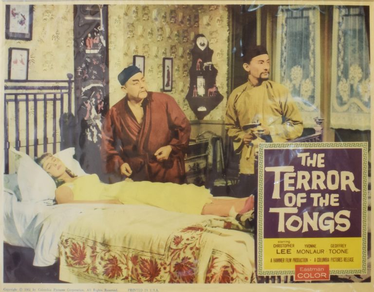 The Terror of the Tongs [LOBBY CARD]. Jimmy SANGSTER, writer, Anthony BUSHELL, director, Kenneth HYMAN, producer.