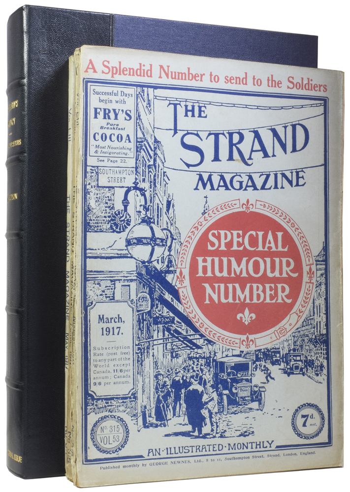 """Punchard's Agency [and] Jeeves and the Unbidden Guest [and] The British Campaign in France [and] Uneasy Money [and] The Man-Trap [in] The Strand Magazine. Volume 53, numbers 315, 316 and 317. Edgar JEPSON, Arthur Conan DOYLE, P. G. WODEHOUSE, """"SAPPER"""", Herman Cyril MCNEILE."""
