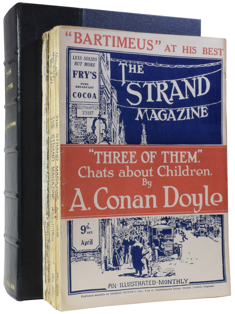 """Three of Them [and] Jeeves and the Chump Cyril [and] The Film that was Never Shown [and] The Magic Plus Fours [and] Billy Bones [and] The Forbidden Subject [and] First Aid for Dora [in] The Strand Magazine. Volumes 55, 56, 64, and 66; numbers 328, 331, 332, 366, 384 and 392. Arthur Conan DOYLE, P. G. WODEHOUSE, """"SAPPER"""", Herman Cyril MCNEILE."""