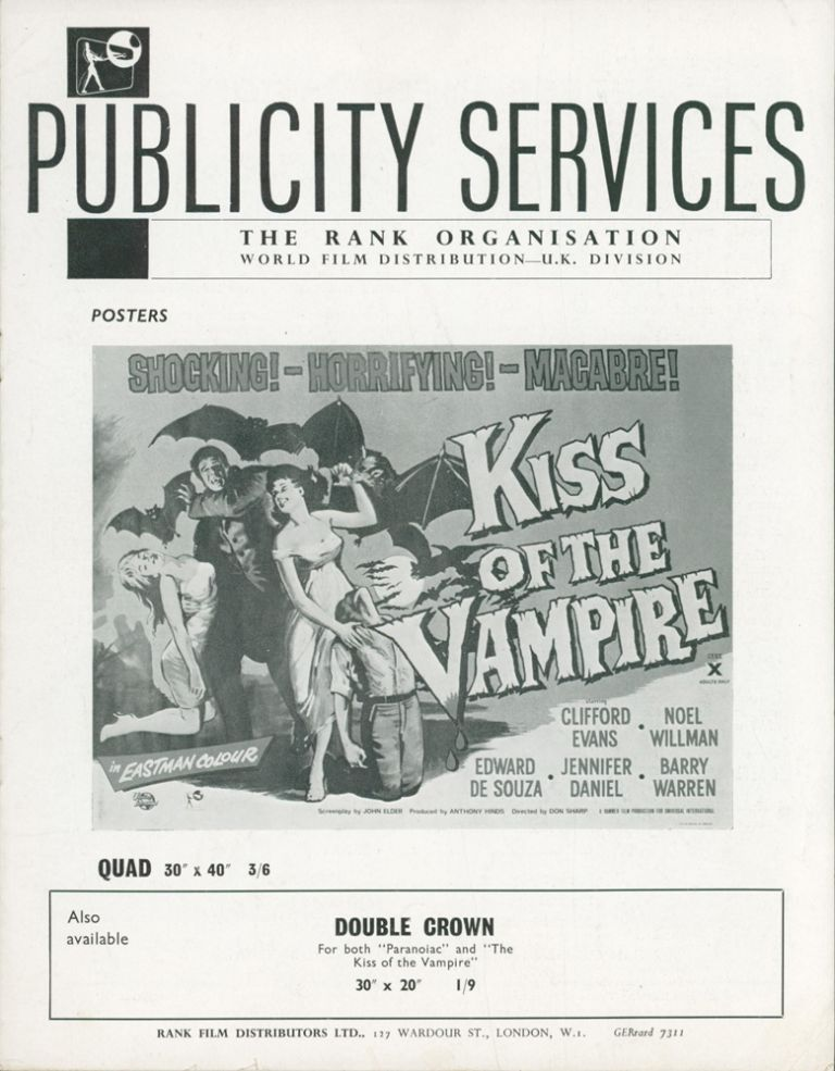 Kiss of the Vampire — Publicity Services [Film Campaign Brochure]. ANONYMOUS.