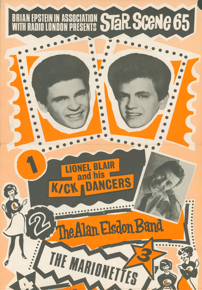 Star Scene 65 [Pop Concert Poster]. Lionel BLAIR, THE ALAN ELSDON BAND, THE MARIONETTES, KLAUS PADDY, GIBSON, Cilla BLACK, Billy J. KRAMER, THE EVERLY BROTHERS, Pete BRADY.