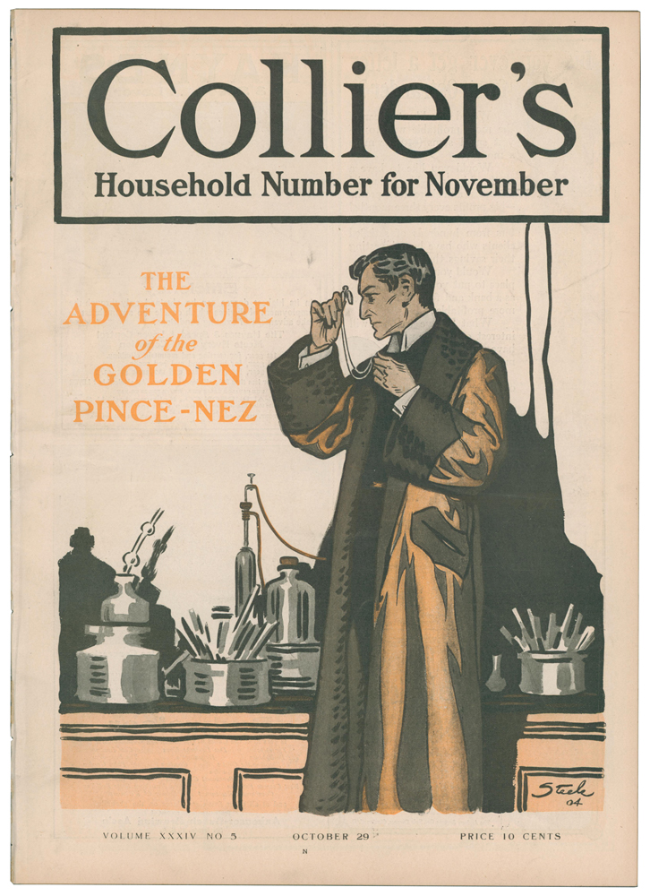 The Adventure of the Golden Pince-Nez [in] Collier's Weekly. Volume XXXIV, number 5. Arthur Conan DOYLE, Upton SINCLAIR, Sir.