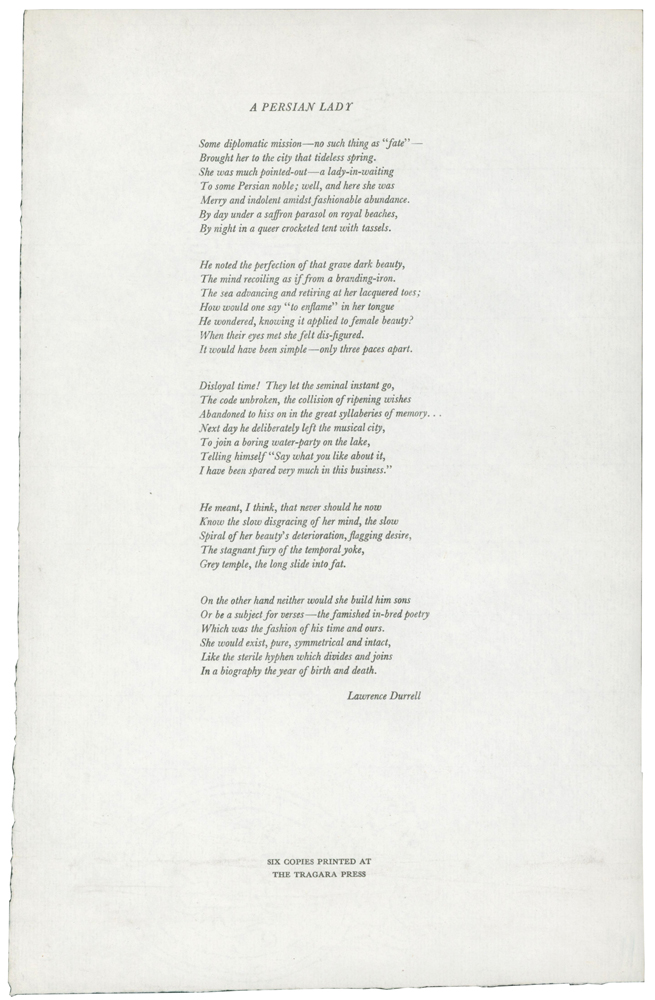 A Persian Lady [Broadside Poem]. Lawrence DURRELL, 1912–1990.