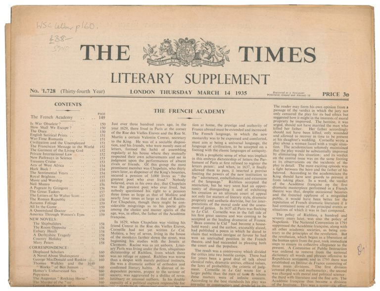 Displaced Scholars [in] The Times Literary Supplement. No. 1728. Winston CHURCHILL.