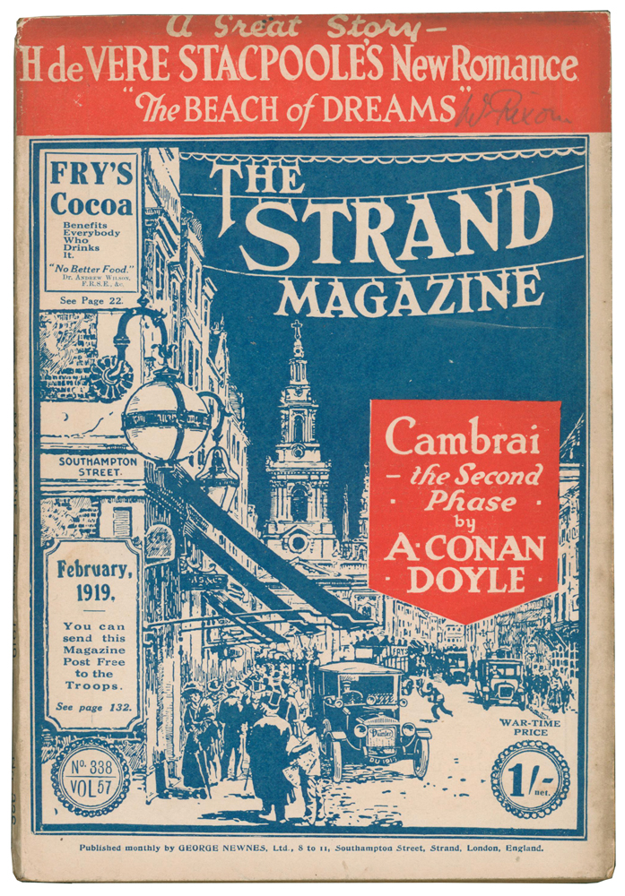 """The Beach of Dreams [and] Cambrai: The Second Phase [and] What People Laugh At! [and] """"Tickets, Please!"""" [and] The Official Mind [and] The Magnificent Ensign Smith [in] The Strand Magazine. Volume 57, numbers 338 to 343. H. de V. STACPOOLE, Arthur Conan DOYLE, Charlie CHAPLIN, D. H. LAWRENCE, Barry PAIN, Edgar WALLACE."""