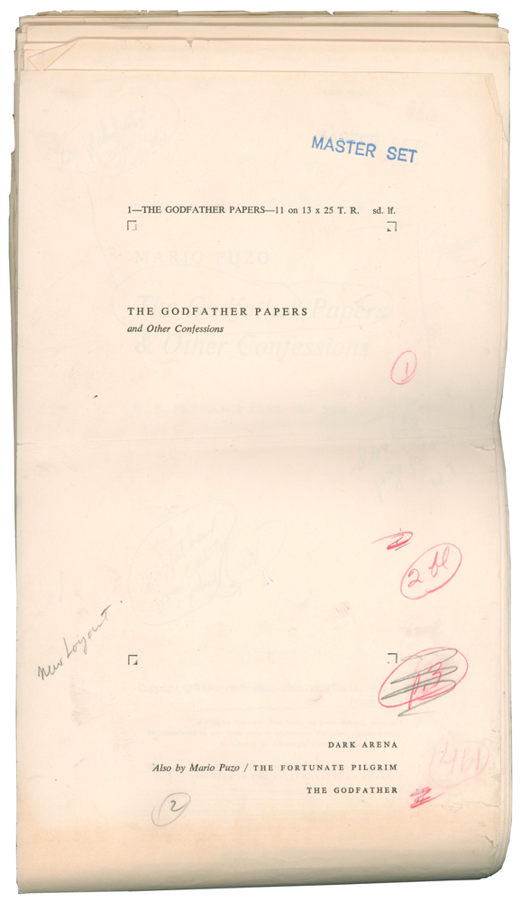 The Godfather Papers, and Other Confessions [Author's Master Galley Proof]. Mario PUZO.