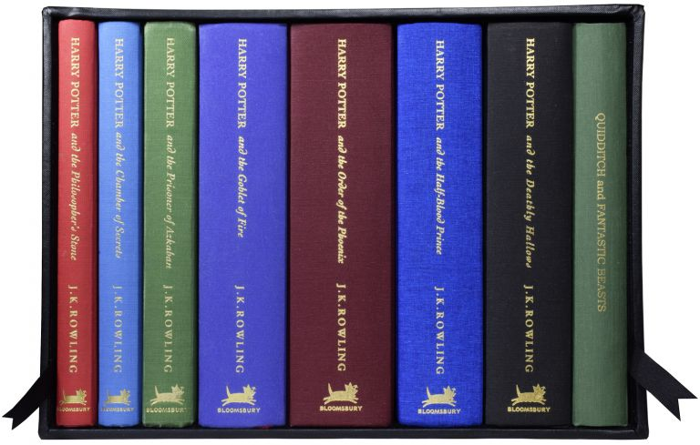 Harry Potter Series, Complete Deluxe Set, each with added colour illustration. Being: The Philosopher's Stone; The Chamber of Secrets; The Prisoner of Azkaban; The Goblet of Fire; The Order of The Phoenix; The Half-Blood Prince; The Deathly Hallows: Fantastic Beasts and Where to Find Them and Quidditch Through the Ages;. J. K. ROWLING, born 1965.