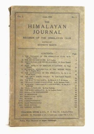 The Himalayan Journal. Records of The Himalayan Club. Volume I, No. I. Kenneth Mason, ed
