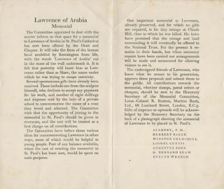 Lawrence of Arabia Memorial Pamphlet. Winston S. CHURCHILL