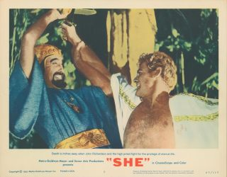 """She"" [LOBBY CARDS]. David T. CHANTLER, writer, Robert DAY, director, Michael CARRERAS, producer"