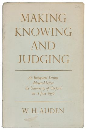 Making, Knowing and Judging. An Inaugural Lecture delivered before the University of Oxford on 11...