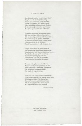 A Persian Lady [Broadside Poem]. Lawrence DURRELL, 1912–1990