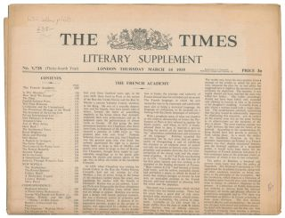 Displaced Scholars [in] The Times Literary Supplement. No. 1728. Winston CHURCHILL