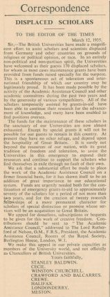 Displaced Scholars [in] The Times Literary Supplement. No. 1728.