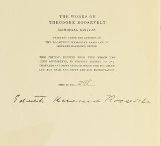 The Works of Roosevelt [set of writings/essays including The Rough Riders, Ranch Life and the Hunting Trail, The Winning of the West, African Game Trails, Through the Brazilian Wilderness, Outdoor Pastimes of an American Hunter, etc.]